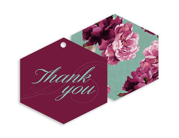 Printable Gifts Tags - Wedding Thank you tags - Boho Vintage Swirls and Twirls Floral wedding - Burgundy, Marsala, Mint | Swirls and Floral by NicyaPrintables on Etsy