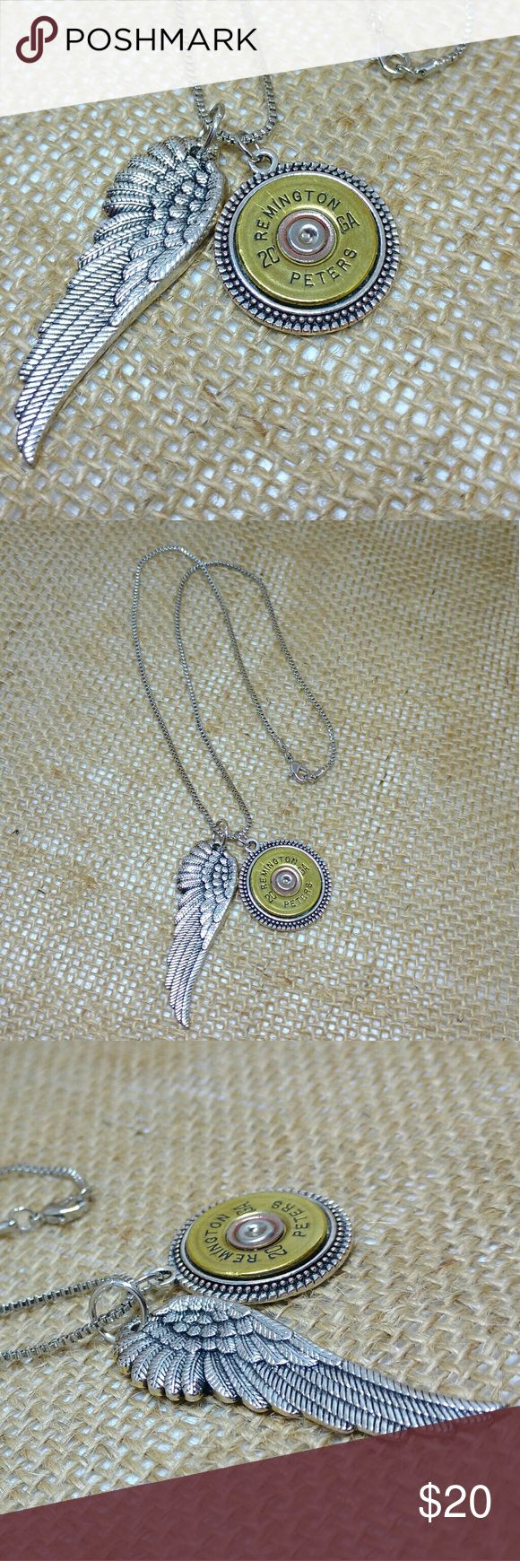 Angel Wing Shotgun Shell Necklace Large silver angel wing with a real 20-gauge Remington shotgun shell handcut and polished and placed on an 18-inch silver box chain.  Wing is 2 x 3/4 inches.  Shotgun shell pendant is 1-inch diameter.    Handmade by me, made in USA, variations available upon request. Handmade Jewelry Necklaces