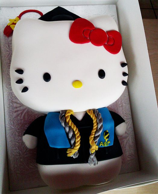 Hello Kitty Graduation Cake With Honors from Animated Cupcakes graduation hellokitty
