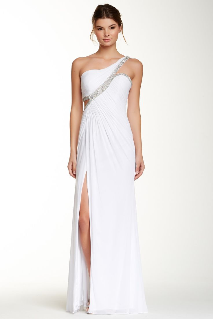 One Shoulder Embellished Mesh Gown by La Femme on @HauteLook