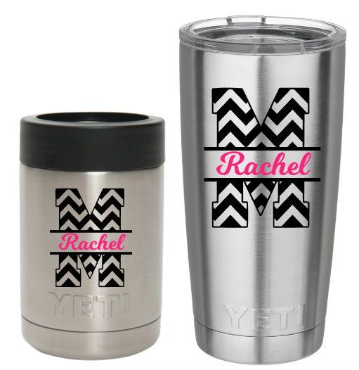 Chevron yeti decal chevron split letter personalized tumbler decal monogram decal personalized chevron decal diy application decal
