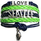 """Seattle Football Fan Adjustable Bracelet in Vibrant Seahawks Colors   This Bracelet Lets Everyone Know """"This Girl Loves Her Hawks"""""""