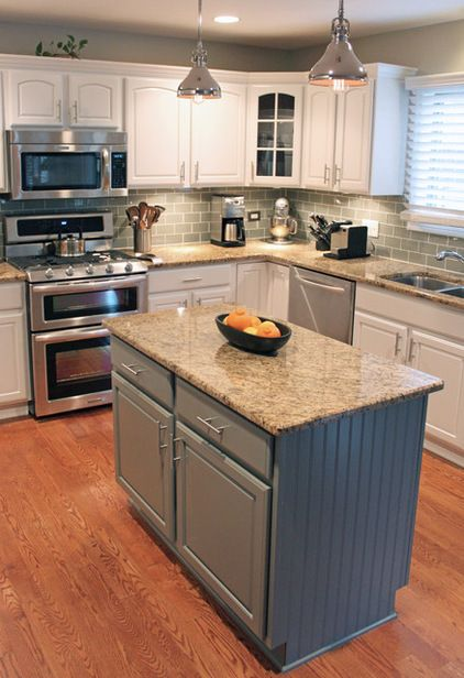 Transitional Kitchen by CHAD ESSLINGER DESIGN  he had the existing cabinets…
