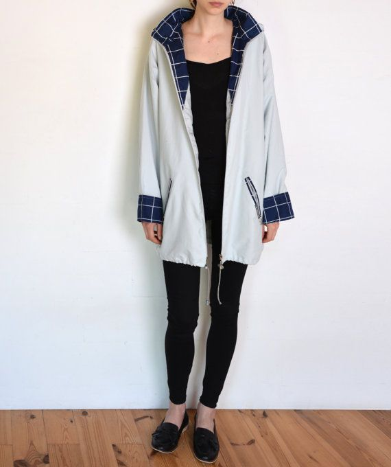 90's blue jacket with plaid lining pastel by WoodhouseStudios