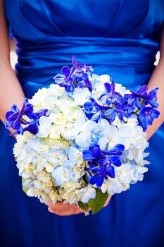 Wedding, Flowers, White, Blue, Roses, Hydrangeas, Delphinium - bridesmaid bouquets --- I like the royal blue flowers