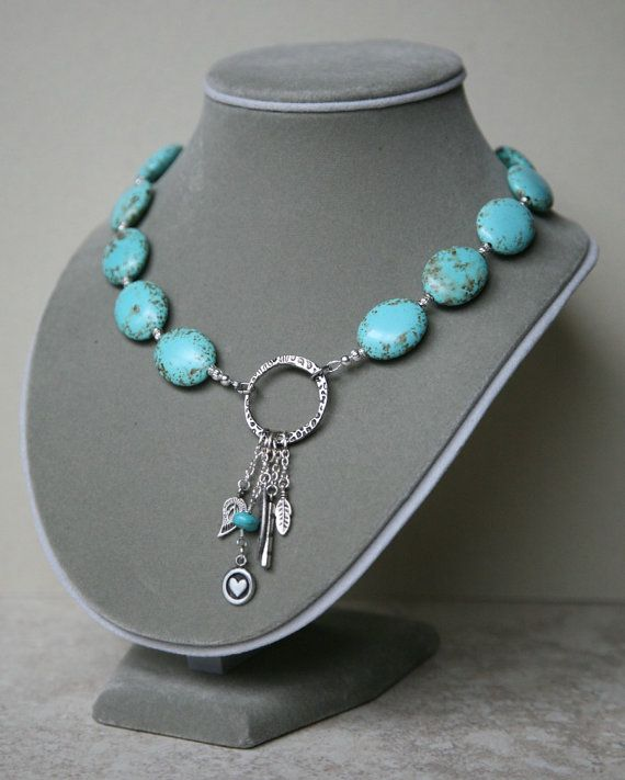 Asymmetrical Puffed Magnesite Turquoise Charm Dangling by Karenda, $43.00