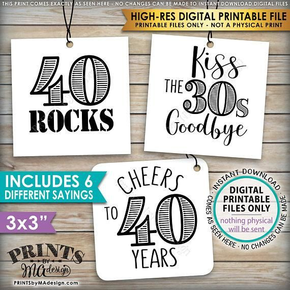 "40th Birthday Party Candy Signs, 40th Candy Bar, 40 Sucks, 40 Blows, 40 Rocks, 40 is Hot, Kiss 30s Goodbye, Cheers to 30 years, Square 3x3"" tags on 8.5x11"" PRINTABLE <Instant Download>"