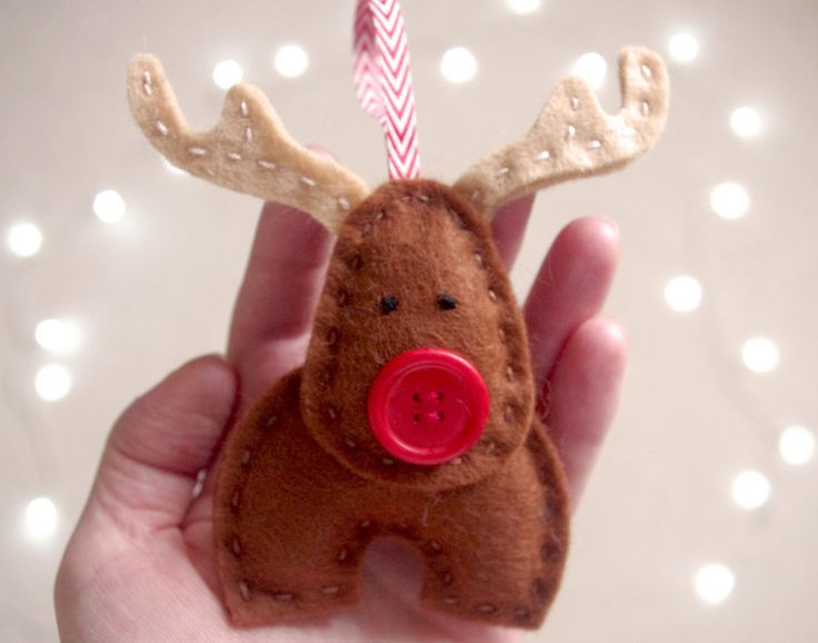 Felt Christmas Bauble, Reindeer Tree Decoration, Felt Xmas Ornament, Handmade Rudolf Reindeer, Holiday Home Decor, Cute Kids Christma by FeltTails on Etsy https://www.etsy.com/listing/253790421/felt-christmas-bauble-reindeer-tree