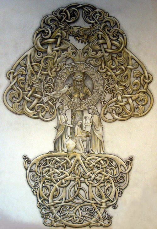 """""""Yggdrasil - The Tree of Life"""" in Norse mythology, a huge ash tree whose roots…"""