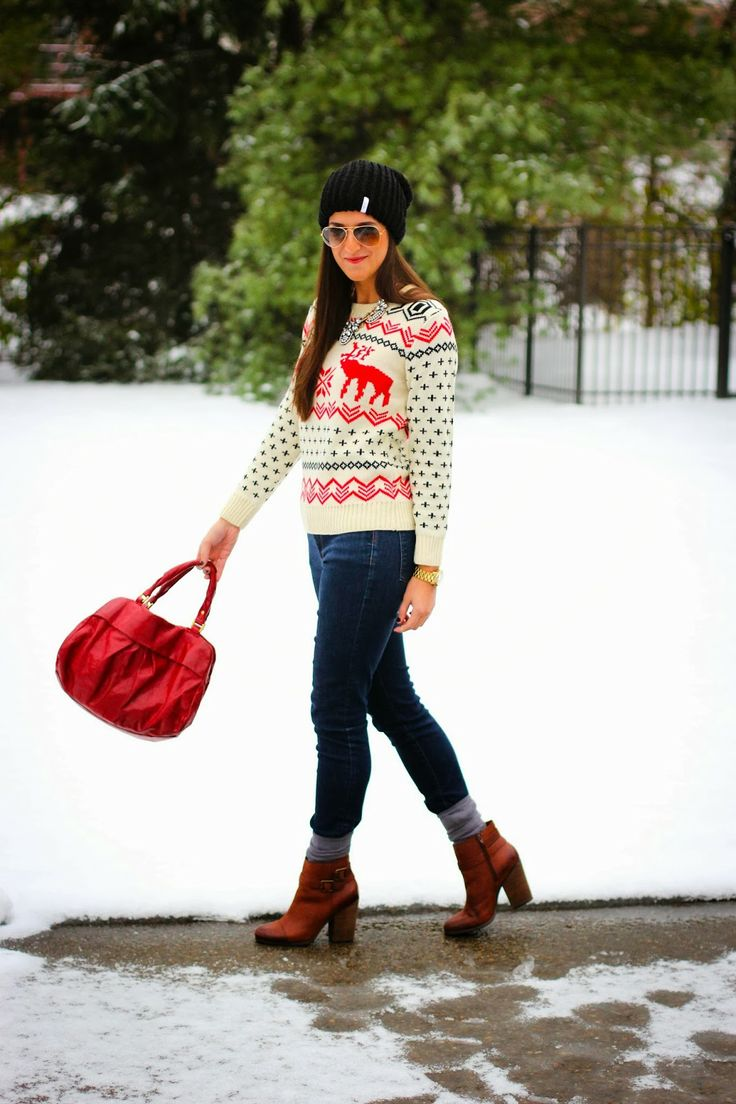A Southern Drawl - Jac's sweater, skinny jeans, target boots or cognac booties or cognac boots, red bag, black beanie