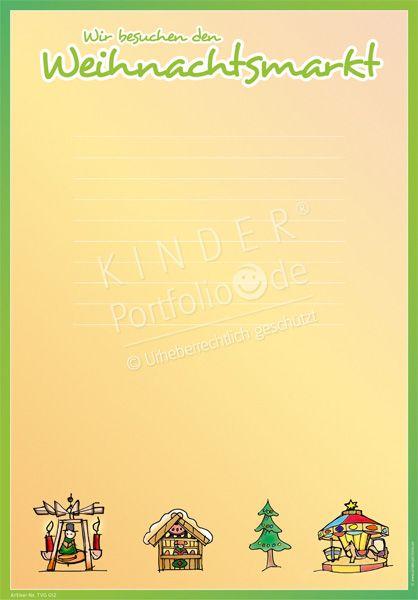 """Kindergarten Portfolio Vorlagen """"Wir besuchen den Weihnachtsmarkt"""""""