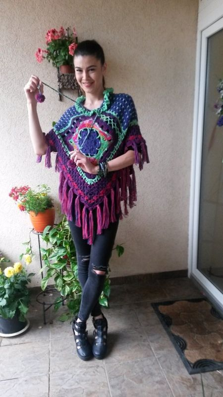 poncho ,handcrocheted ,colourful  and cozy
