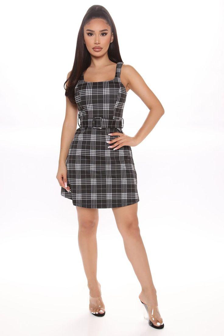 Play In Plaid Mini Dress Black in 2020 Mini dress