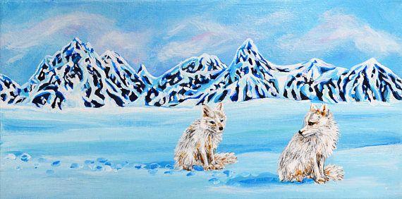Arctic Fox Original Acrylic Painting