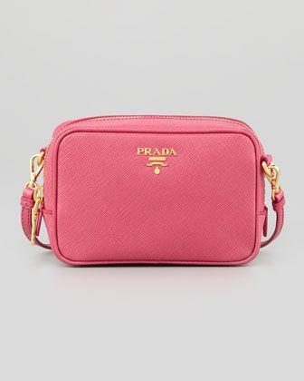 Saffiano Mini Zip Crossbody Bag, Pink by Prada