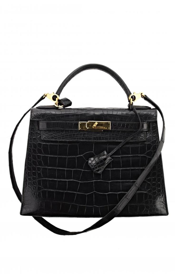 Vintage Hermes Black Alligator Kelly Bag - | Hermes World | Pinterest
