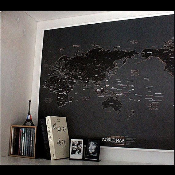 Black World Map Poster by verryberrysticker on Etsy
