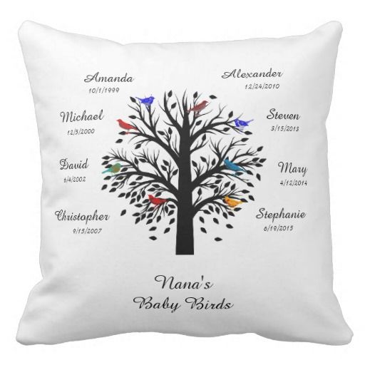 Special Keepsake Throw Pillow for Grandma/Grandpa, Black Tree with Names & Dates for grandchildren. Add Grandma's Name (or title of endearment!) at the trunk of the tree. Eight birds in the tree, with room to add names and birthdays for up to eight grandchildren. Back of Pillow has the same white tree, and below the tree, the following text: Grandmothers are moms with lots of frosting! Perfect gift for any grandparent, and a great way for them to remember birthdays!