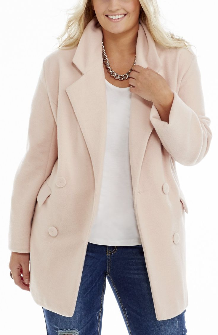 Double Breasted Melton Jacket - Pale pink Style No: J3097 Stretch Acid wash Denim Straight leg jean. This jean has leg rips. It features front pockets and 2 back pockets that feature a stitch detail. This Jean looks great with the hem turned up or not. Inner leg length 73cm #plussize #fashion #dreamdiva #dreamdivafiles