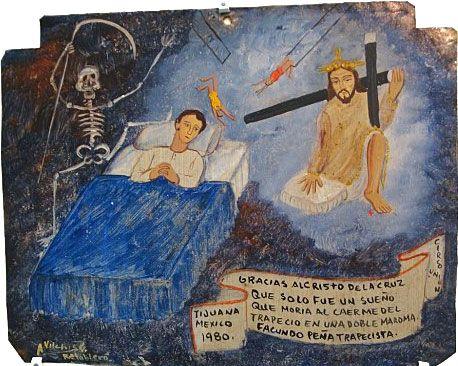 Благодарю Господа Веракрусского, что это был только страшный сон и я не погиб на самом деле, сорвавшись во время двойной трапеции.    Факундо Пенья, акробат. Цирк «Юнион».  Тихуана, Мексика, 1980.