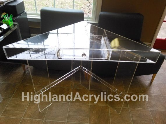 Corner Vanity Table all clear 1/4 thick acrylic  30 x 42 x 30 x 34 high with 30 leg room Single Drawer  Nickle Finish Hardware  Custom Made To