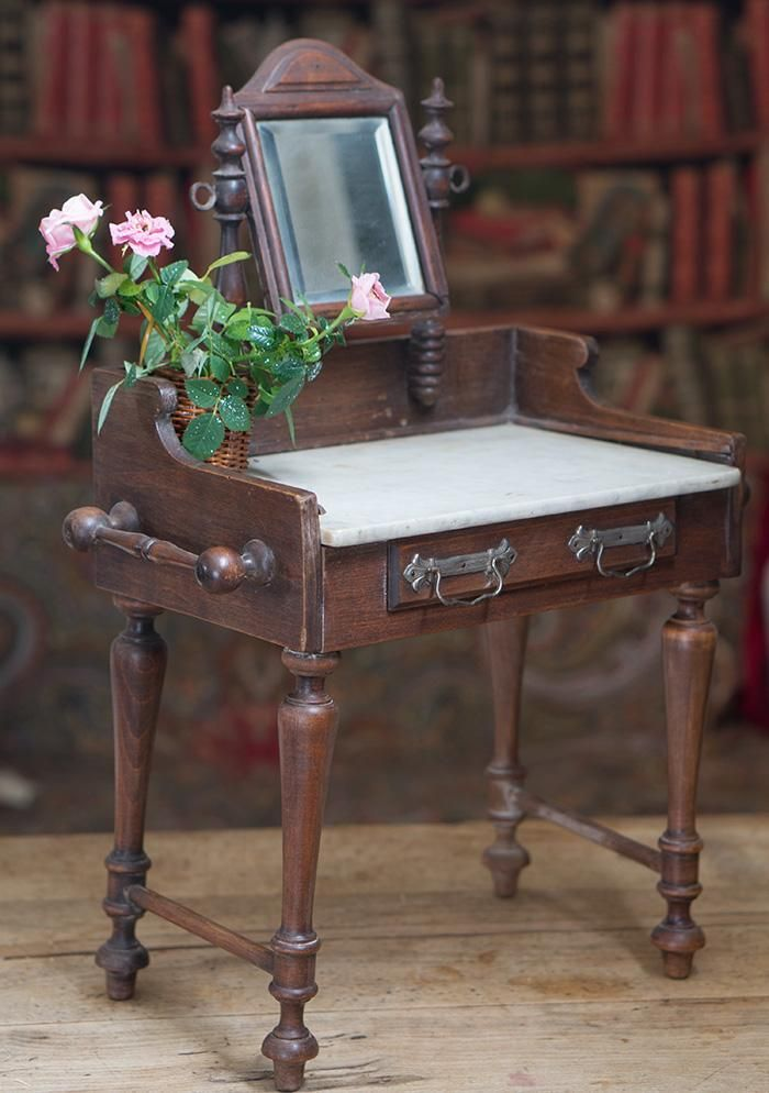 """19"""" (48 cm) tall Antique French Wooden Toilette Table with Marble Top from respectfulbear on Ruby Lane"""