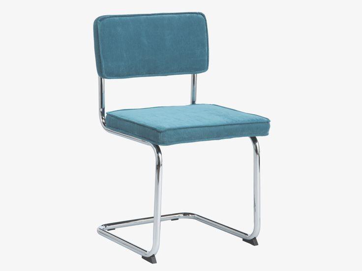 SEVILLA BLUE Velvet Teal blue cantilevered chair - HabitatUK