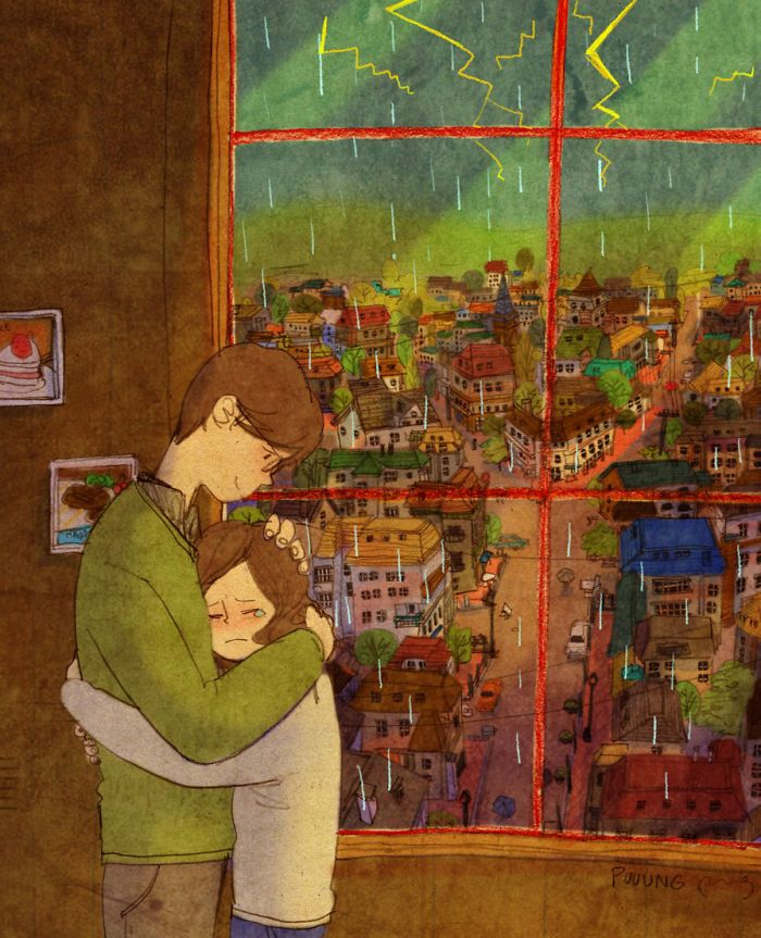 """Artist """"Puuung"""" captures those little moments that make love whole in these heartwarming illustrations. In relationships, every-day interactions are more important than grand gestures—basically, don't forget the small things."""