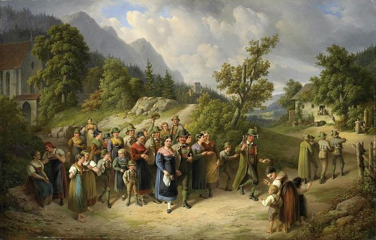 The cohesion of this small world which the family constitutes is strengthened by religious and moral formation. Wedding in the Village by Carl Pelz.