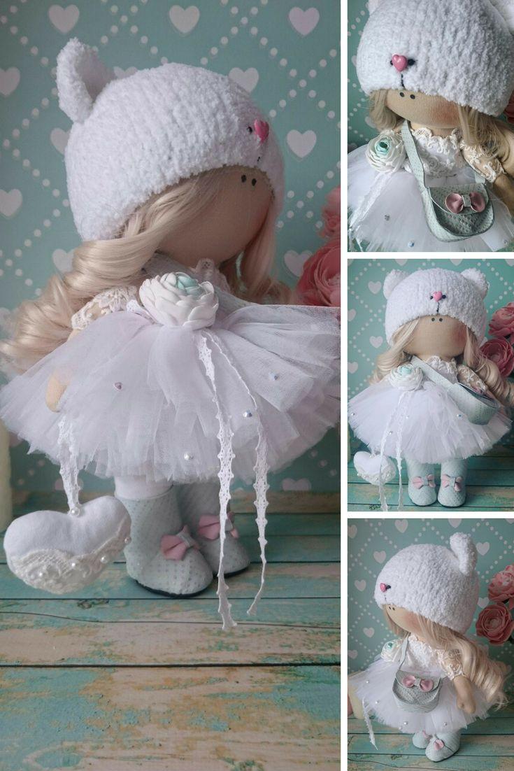 Fabric doll Handmade doll Rag doll Puppen Bonita Love doll Nursery doll Bambole di stoffa Tilda doll Muñecas White doll Cloth doll by Elvira