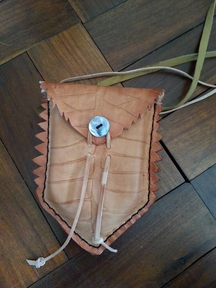 Handtooled Leather Leaf Pouch with Mother of Pearl Trim