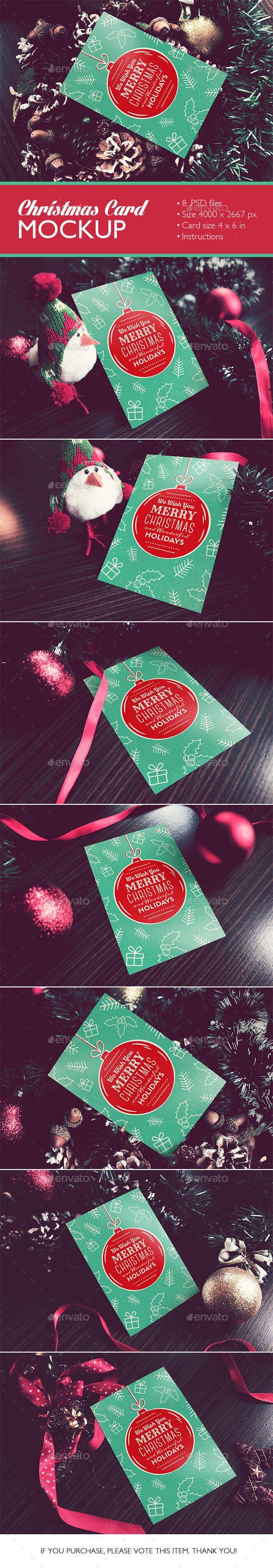 Christmas Card Mockup - Product Mock-Ups Graphics