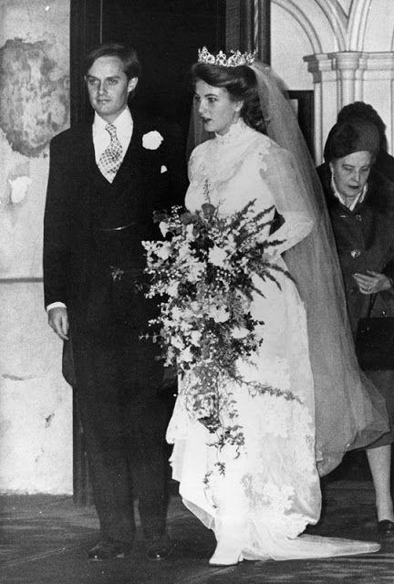 3 février 1977 mariage de la Princesse Antonia de Löwenstein-Wertheim-Rosenberg, fille de la princesse Anastasia et du prince Aloïs, arrière petite-fille de l'empereur Guillaume II avec Charles Wellesley, fils du duc de Wellington