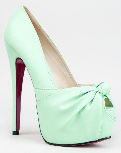 Red Kiss ANASTASHIA Knotted Peep Toe Platform High Heel Stiletto Pump #Shoes