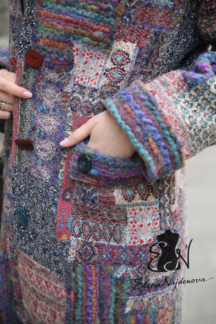 Купить авторское пальто в стиле пэчворк - пэчворк, авторская работа, единственный экземпляр, валяное пальто