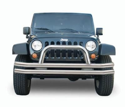 2013 JEEP WRANGLER (JK) Rampage Stainless Steel Double Tube Front Bumper with Hoop: Rampage Front… #AutoParts #CarParts #Cars #Automobiles