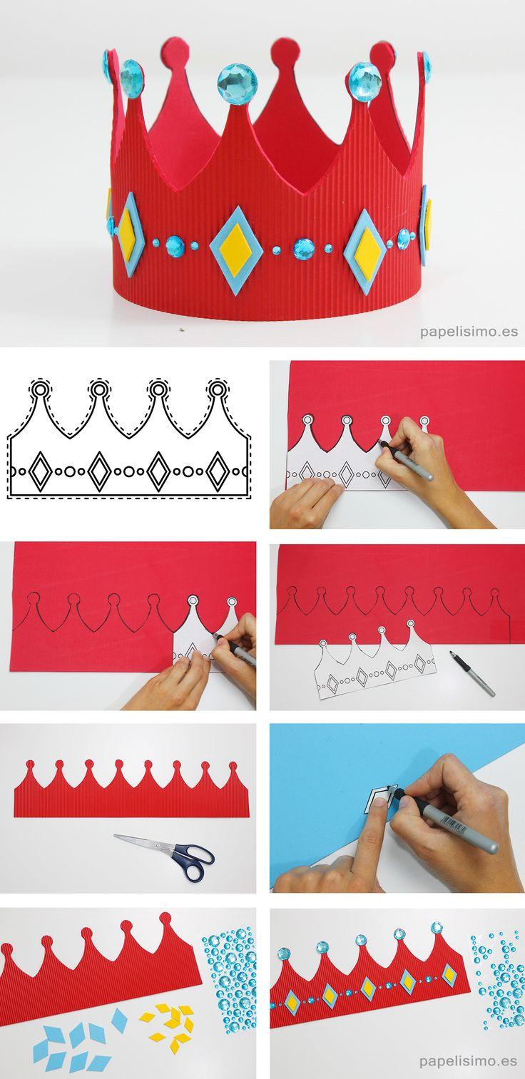 Aprende cómo hacer una corona de goma eva (con plantillas). Puedes personalizar con letras o números para escribir el nombre de niño o los años que cumple.