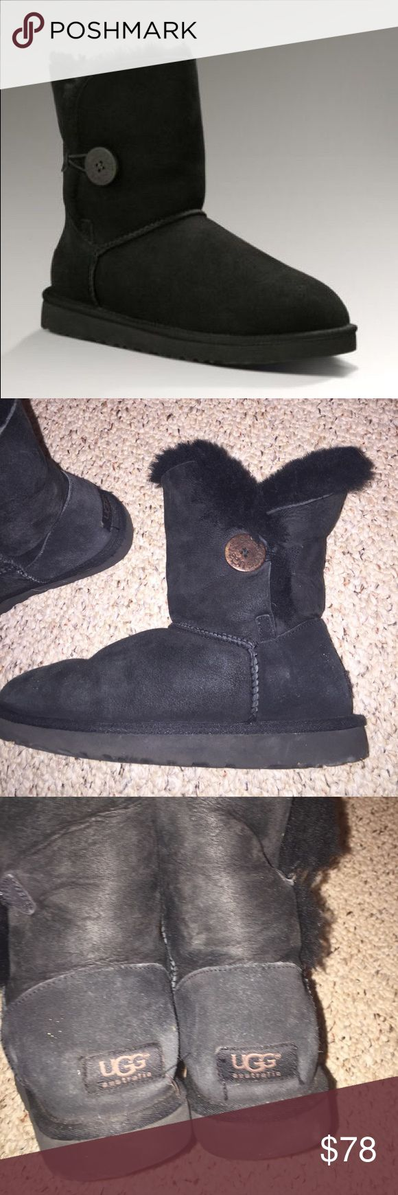 Black Uggs Black short uggs w button! Size 8 in great condition. Make me an offer! UGG Shoes Ankle Boots & Booties