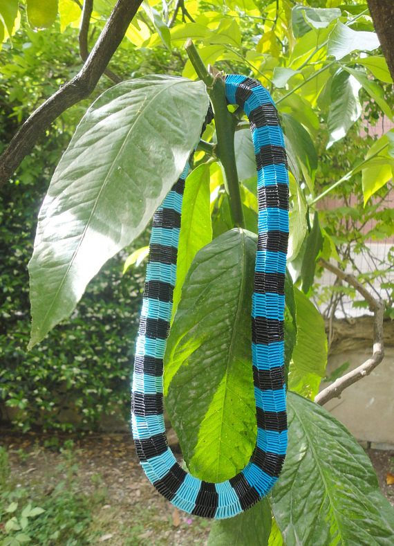 Contemporary matinee necklace with stripes black and two shades of blue made out of weaved paper Minimalist necklace Summer women Gift idea  For a colorful and original summer gift, this contemporary matinee necklace could be a perfect idea: with its contemporary design, eco-friendly and elegant the necklace is designed for women of any age who are not afraid to be out of the box.  The necklace feature a single element, designed in expert detail by Egeo Handmade Jewelry to create an…