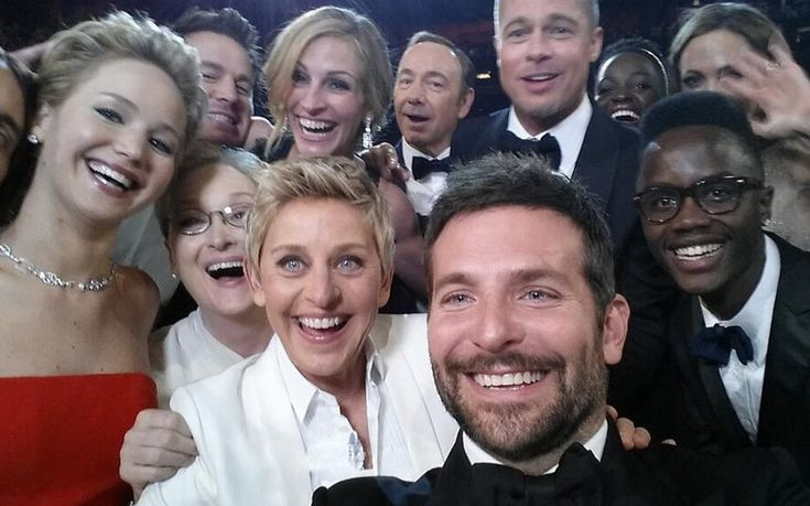 At the 2014 oscars -- Ellen Degeneres takes a selfie starring Meryl Streep, Jennifer Lawrence, Julia Roberts, Brad Pitt and a number of other huge Hollywood names, which becomes the most retweeted photo ever.