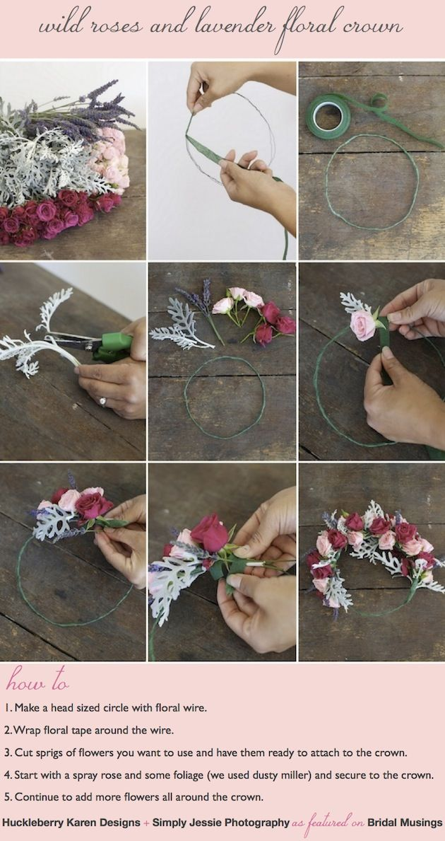 Flower Crowns are not as tricky to make as they look. All you need is floral wire, floral tape, scissors some pretty fowers. That's it! DIY tutorial by @Huckleberry Karen