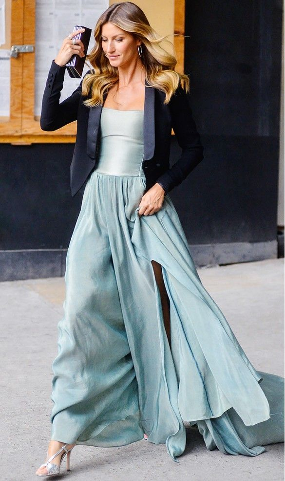 Try pairing a long dress with a tuxedo jacket. // #GiseleBundchen #style