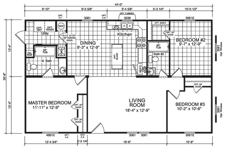 You'll find several stand-out features in this mid-sized mobile home, chief among them is the hefty sized walk-in closet in bedroom number two. Lucky is the lodger that gets this room. The 'eat-in' kitchen design eliminates the need for a formal dining room, which is a smart and economical use of limited space.