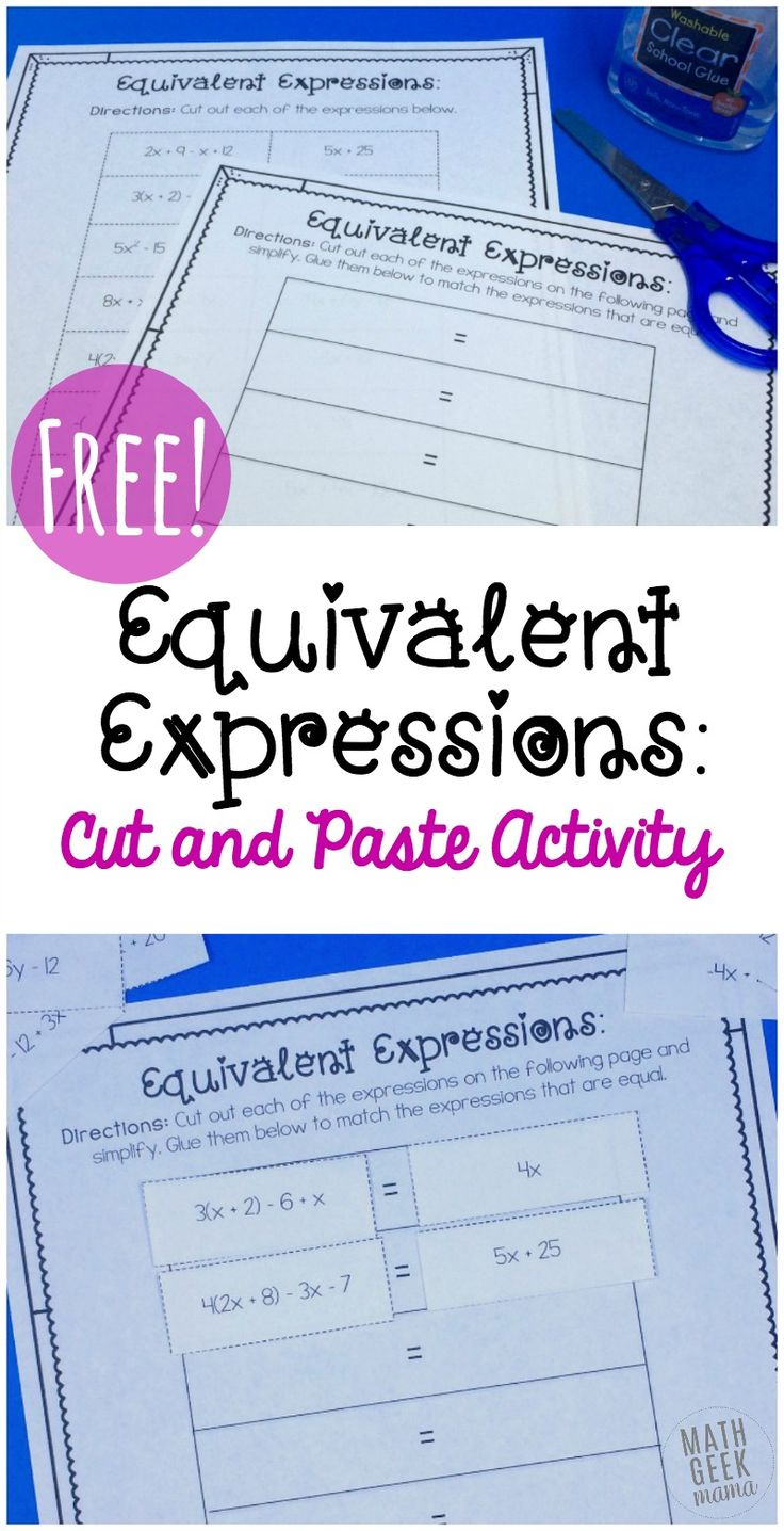 Free Equivalent Expressions Cut and Paste Math Activity