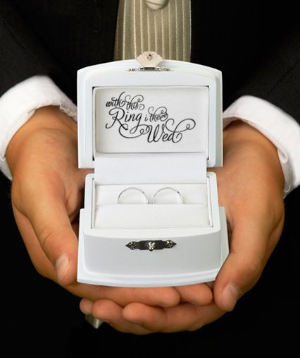 """Ring bearer box. Inscribed with: """"with this ring I thee wed'"""