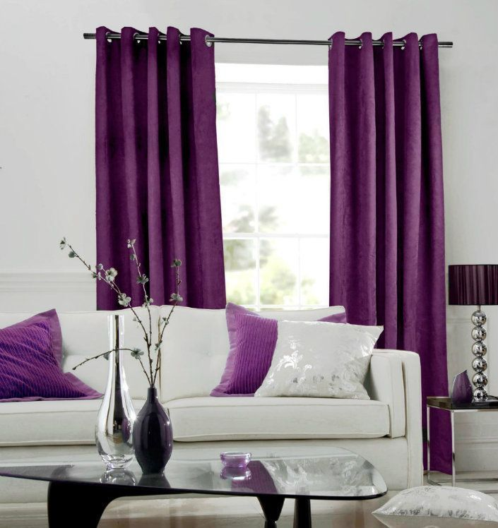 Purple Shelving, Grey Living Room Curtains And