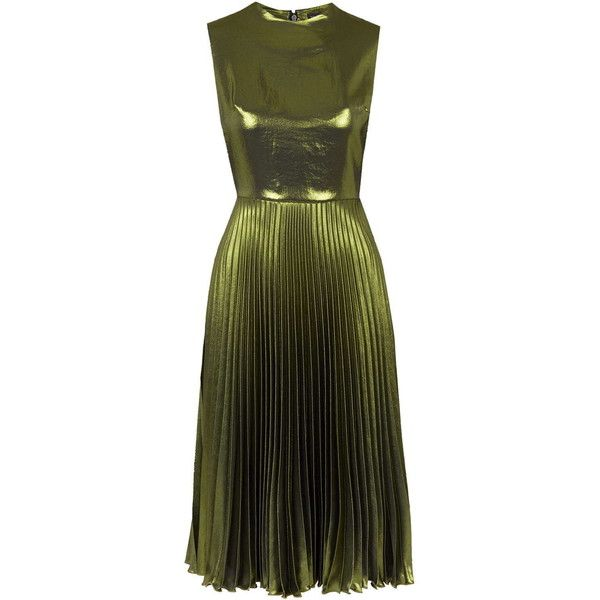 TOPSHOP Metallic Pleated Midi Dress (€150) ❤ liked on Polyvore featuring dresses, green, green midi dress, holiday party dresses, pleated midi dress, midi dress and night out dresses