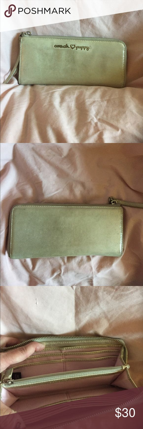 """COACH POPPY WALLET Cream iridescent sparkle wallet approximate measurements are H 4""""  L 7.5. In good pre owned condition Coach Bags Wallets"""