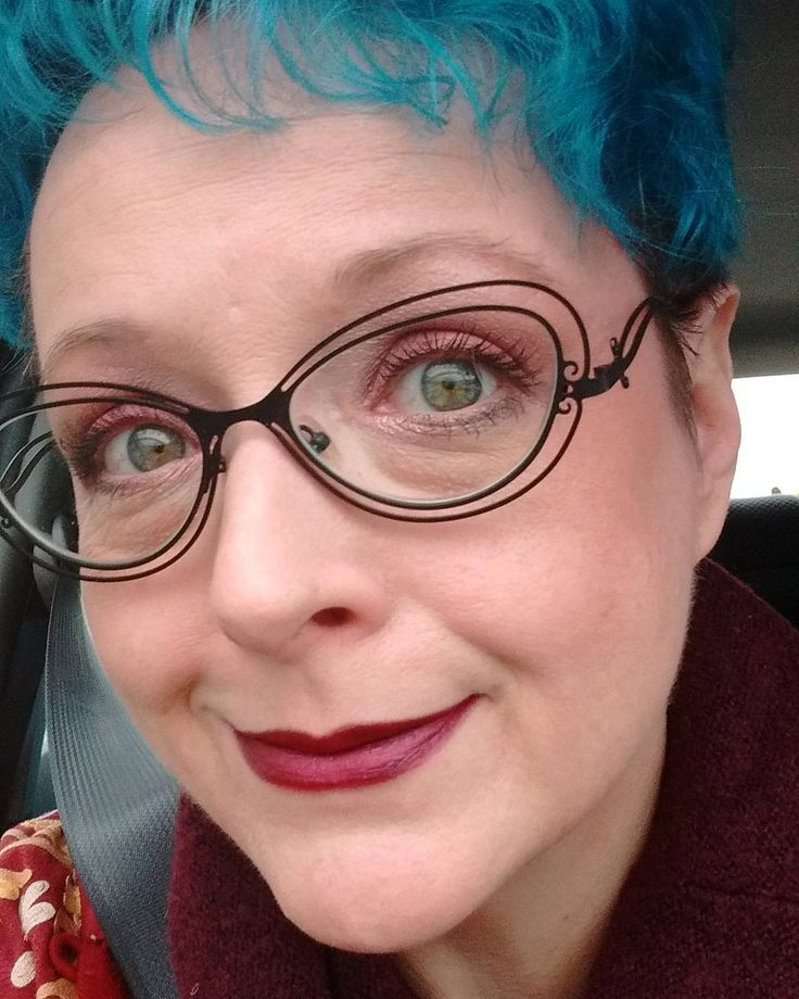 #dermablend for the win! Best #concealer and #foundation I have tried in years!#selfie #selfportrait #girlswithglasses #bluehair