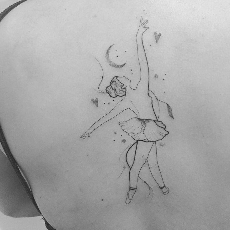 Tatuagem criada por Bru Simões do Espírito Santo.  A dançarina e a lua.  #art #arte #tattoo #tattoo2me #tatuagem #delicada #sweet